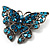Azure Blue Crystal Filigree Butterfly Brooch (Silver Tone) - view 3