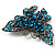 Azure Blue Crystal Filigree Butterfly Brooch (Silver Tone) - view 5