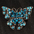 Azure Blue Crystal Filigree Butterfly Brooch (Silver Tone) - view 2