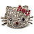 Cute Dazzling Kitten With Pink Bow Brooch (Silver Tone) - view 1