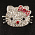 Cute Dazzling Kitten With Pink Bow Brooch (Silver Tone) - view 5