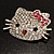 Cute Dazzling Kitten With Pink Bow Brooch (Silver Tone) - view 6