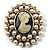 Simulated Pearl Crystal Cameo Brooch (Silver Tone) - view 1