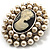 Simulated Pearl Crystal Cameo Brooch (Silver Tone) - view 2