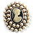 Simulated Pearl Crystal Cameo Brooch (Silver Tone) - view 3