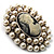 Simulated Pearl Crystal Cameo Brooch (Silver Tone) - view 4