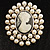 Simulated Pearl Crystal Cameo Brooch (Silver Tone) - view 6