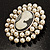 Simulated Pearl Crystal Cameo Brooch (Silver Tone) - view 7