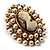 Simulated Pearl Crystal Cameo Brooch (Gold Tone) - view 2