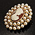 Simulated Pearl Crystal Cameo Brooch (Gold Tone) - view 4