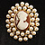 Simulated Pearl Crystal Cameo Brooch (Gold Tone) - view 5