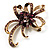 Purple Crystal Bow Corsage Brooch (Antique Gold Tone)