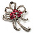 Pink Crystal Bow Corsage Brooch (Silver Tone)