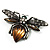Vintage Diamante  Bee Brooch (Antique Silver Tone) - view 3