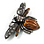 Vintage Diamante  Bee Brooch (Antique Silver Tone) - view 2
