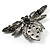 Vintage Diamante  Bee Brooch (Antique Silver Tone) - view 7