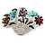 Fancy Enamel Multicoloured Flower Basket Brooch (Silver Tone) - view 1
