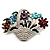 Fancy Enamel Multicoloured Flower Basket Brooch (Silver Tone) - view 4