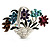 Fancy Enamel Multicoloured Flower Basket Brooch (Silver Tone) - view 3