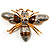 Oversized Gold Diamante Bee Brooch - view 1