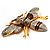 Oversized Gold Diamante Bee Brooch - view 7