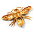 Oversized Gold Diamante Bee Brooch - view 8