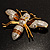 Oversized Gold Diamante Bee Brooch - view 3