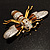 Oversized Gold Diamante Bee Brooch - view 10