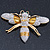 Oversized Gold Diamante Bee Brooch - view 12