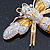 Oversized Gold Diamante Bee Brooch - view 14
