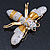 Oversized Gold Diamante Bee Brooch - view 15