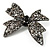 Gun Metal Filigree Crystal Bow Brooch - view 2