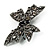 Gun Metal Filigree Crystal Bow Brooch - view 3