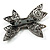 Gun Metal Filigree Crystal Bow Brooch - view 4