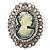 Vintage Antique Silver Crystal Cameo Brooch