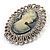 Vintage Antique Silver Crystal Cameo Brooch - view 4