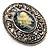Vintage Floral Crystal Cameo Brooch (Antique Silver Finish) - view 3