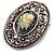 Vintage Floral Crystal Cameo Brooch (Antique Silver Finish) - view 4
