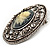 Vintage Floral Crystal Cameo Brooch (Antique Silver Finish) - view 5