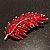 Statement Crystal Leaf Brooch (Bright Red) - view 2