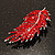 Statement Crystal Leaf Brooch (Bright Red) - view 6