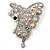 AB Diamante Butterfly Brooch (Silver Tone)