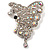 AB Diamante Butterfly Brooch (Silver Tone) - view 5