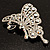 AB Diamante Butterfly Brooch (Silver Tone) - view 7