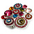 Multicoloured Diamante Cluster Brooch (Silver Tone) - view 5