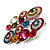 Multicoloured Diamante Cluster Brooch (Silver Tone) - view 6