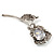 Exquisite CZ Rose Brooch (Silver Tone) - view 4