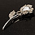 Exquisite CZ Rose Brooch (Silver Tone) - view 7
