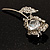 Exquisite CZ Rose Brooch (Silver Tone) - view 8