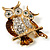 Two Sitting Diamante Owls Brooch (Gold Tone) - view 3
